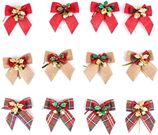 Xunlong 12 Pack Christmas Cute Bow with Bells Mini Bowknot Decoration Xmas Bow Ornament Christmas Tree Decor (Multi Color)