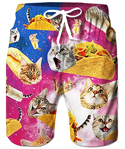 TUONROAD Mens Summer Short Boardshorts 3D Printed Floral Bathing Trunks Blue Purple Galavey Space Mouth Cat Popular Trunks Shorts,Large,Taco Cat