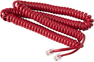 Telephone Cord Handset Curly - Phone Color Crimson Red 25ft - Works on virtually All Trimline Phones and Princess Telephones - Landline Telephone Accessory iSoHo Phones