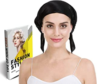 Savena 100% Mulberry Silk Night Sleeping Cap for Long Hair Bonnet Hat Smooth Soft Many Colors, Hair Care Ebook Included (Black)