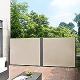 pro.tec Doppelte Seitenmarkise 2 x 300 x 180 cm Sandfarben Beige Sichtschutz Markise Sonnen- und Windschutz