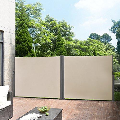 [pro.tec] Toldo Lateral Doble - Exterior - contra Viento, Sol y visión - Color de Arena - 160 x (2x300) cm