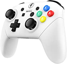 MASCARRY Replacement Shell Case for Switch Pro Controller, Super Switch DIY Faceplate and Backplate Case With Replacement Buttons and Handles for Switch Pro Controller (White)