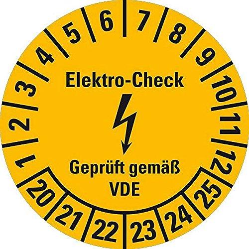 LEMAX® Prüfplakette Elektro-Check... VDE,20-25,gelb,Dokumentenfolie,Ø 20mm,36/Bogen
