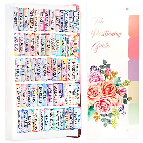 100 Pcs Floral Bible Tabs for Women - Large Print Bible Journaling Tabs Old and New Testament - 66 Book Indexing Tabs and 34 Blank Sticky Tabs for Girls, Kids,Study Bible