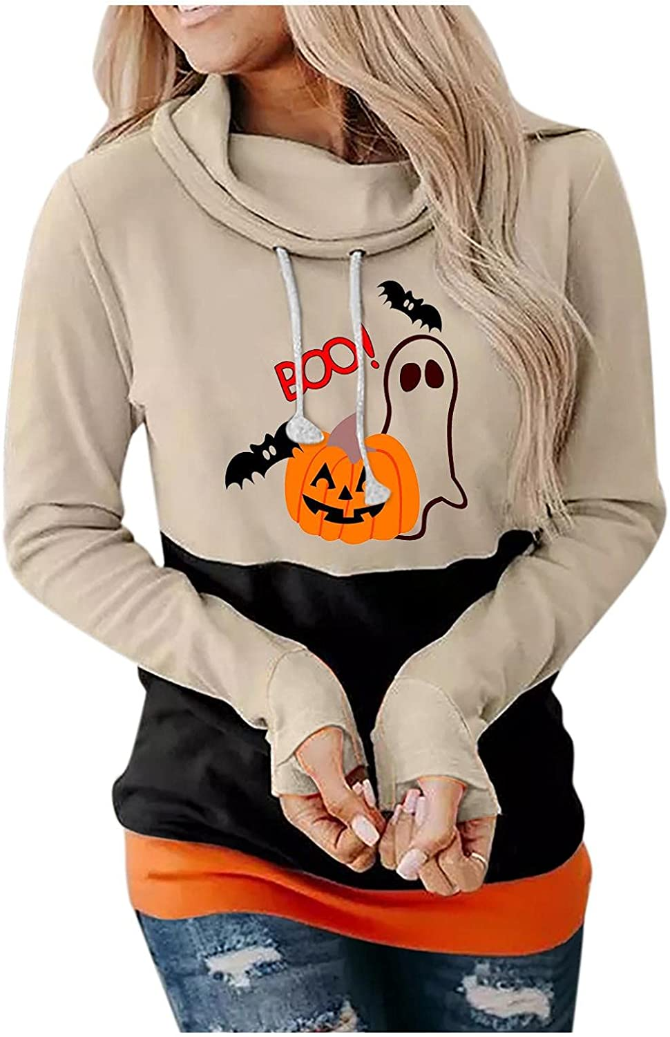 Haheyrte Womens Halloween Graphic Hoodies Pullover Cowl Neck Long Sleeve Hooded Sweatshirts Casual Funny Pumpkin Sweaters Top