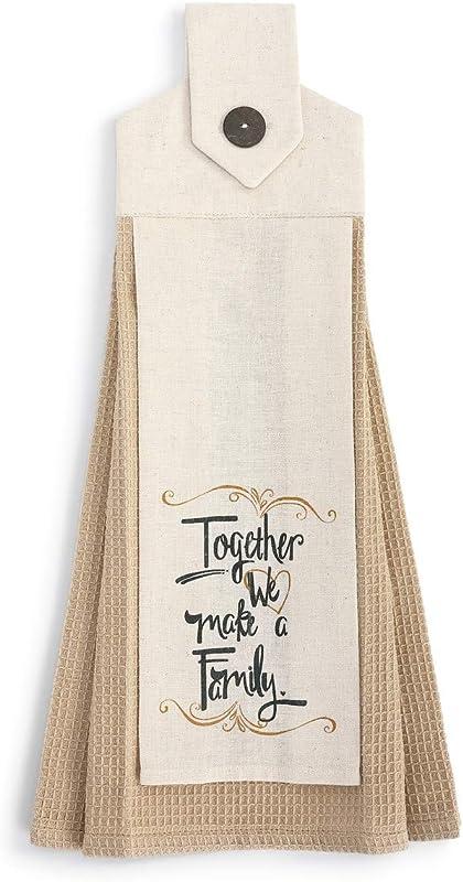 We Make A Family Tan And Cream 20 X 6 Cotton Fabric Button Loop Dish Tea Towel