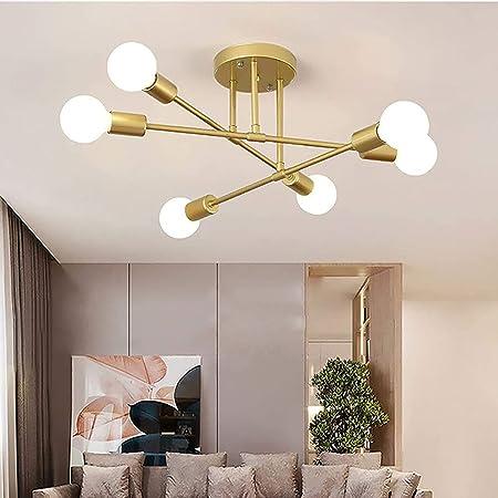 Plafonnier LED Moderne, Rétro Lustre Lampe Suspension Vintage 6 Lumières E27 Base, Lustre Luminaire en Métal Lampe pour Salon Chambre Cuisine Couloir Loft salle à manger Bar Café, Or (Sans ampoules)