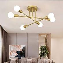 Vintage plafondlamp, 6 lampen retro plafondlamp 6 x E27 fitting design moderne kroonluchter metaal industriële plafondverl...