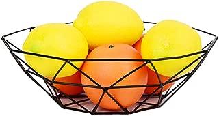 GOLDCHEE Creative Black Iron Fruit Bowl Countertop Storage Basket Dish Fruit Vegetables Storage Basket for Kitchen Countertop (B)