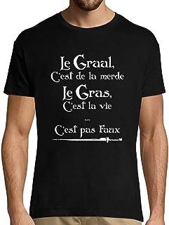 T-Shirt Homme col Rond Le Gras C'est la Viele Graal C'est de la Merde   Citation Humoristique Kaamelott   pour Les Fans de...