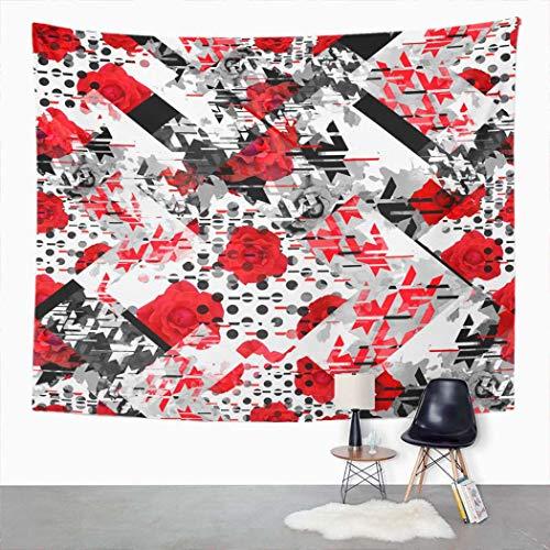 Y·JIANG - Tapiz abstracto, diseño de patchwork geométrico floral para el hogar, dormitorio, manta para colgar en la pared para sala de estar, dormitorio, 127 x 152 cm