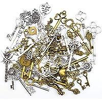 Antiguo esqueleto clave encantos colgantes para hacer a mano suministros hallazgos de la joyería que hacen accesorio bricolaje collar pulsera (80 piezas)