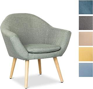 Mc Haus NAVIAN - Sillón Nórdico Escandinavo de color Verde pistacho, butaca comedor salón dormitorio, sillón acolchado con Reposabrazaos y patas de madera 74x64x76cm