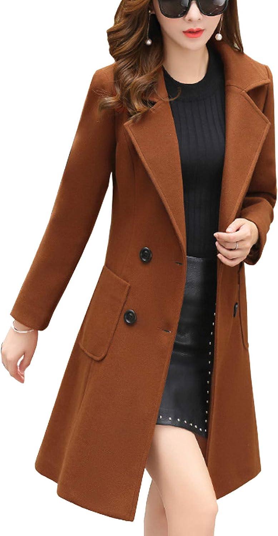 Flygo Women's Winter Warm Slim Double Breasted Woolen Pea Coats Outerwear