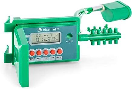 Blumfeldt Aquanova Sistema d'irrigazione Automatico (Fino a 10 vasi, Tubo Flessibile in Vinile di 10 Metri, Schermo LCD per Livello dell'Acqua e della Batteria, picchetti in Acciaio) - Verde