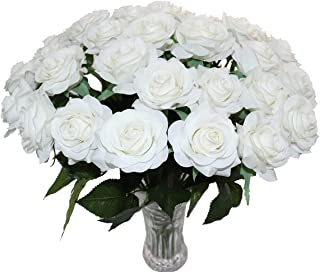 KISMEET Artificial Roses Fake Silk Flowers Real Touch Long Stem for Wedding Party Home Office Outdoor Craft Decoration, Pack of 10 (White)