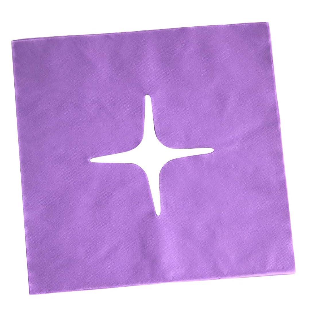 振り子リス円形のHellery フェイスクレードルカバー マッサージフェイスカバー 使い捨て マッサージ用 美容院 サロン 全3色 - 紫の
