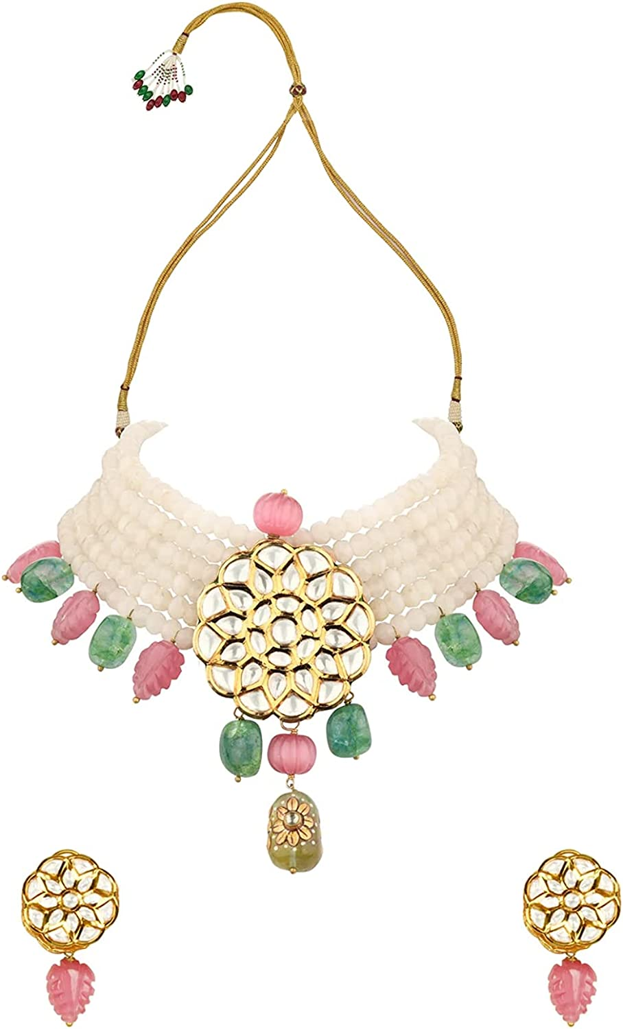 Gold Plated Kundan & Green/Pink Jades Agate Beads Leaf Designer 6 Layered Choker Necklace Set Indian Wedding Bollywood Jewelry