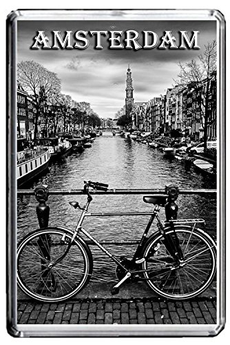 B479 AMSTERDAM VINTAGE PHOTO FRIDGE MAGNET OLD VINTAGE CITY PHOTO OF NETHERLANDS CALAMITA DA FRIGO