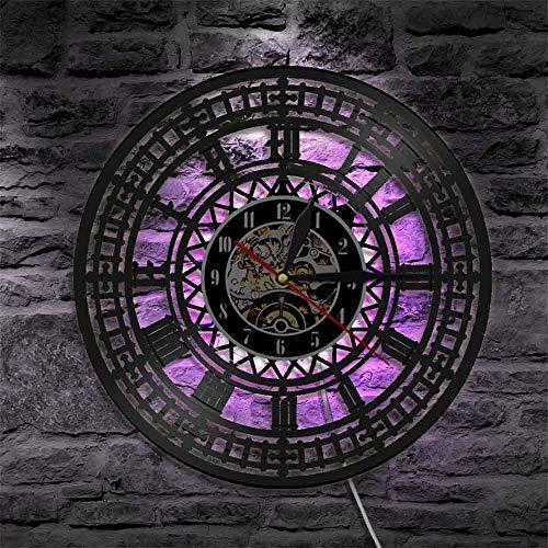 Big Ben Reloj de Pared con Disco de Vinilo Retro Lámpara de Pared LED Especial Reloj de Pared Ligero Regalo de Viajero 30x30cm