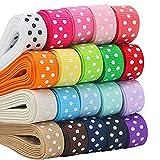 ULTNICE 17 Cinta de punto de polka color cintas de grosgrain Cintas de pelo DIY Cinta de regalo envoltura