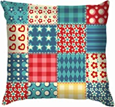 Quilt Patchwork Vintage Pillow Case Throw Pillow Cover Square Cushion Cover 26X26 Inch