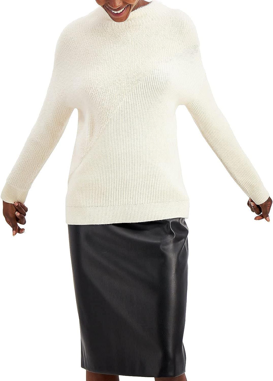 Alfani Women's Sweater Medium Pullover Eyelash Knit Ribbed White M
