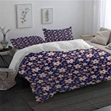 Sheet Set Microfiber Bedding Floral Pastel Colored Doodle Flowers Blooming Foliage Leaves on a Dark Background Easy Fit Extra Soft Purple Pale Pink King