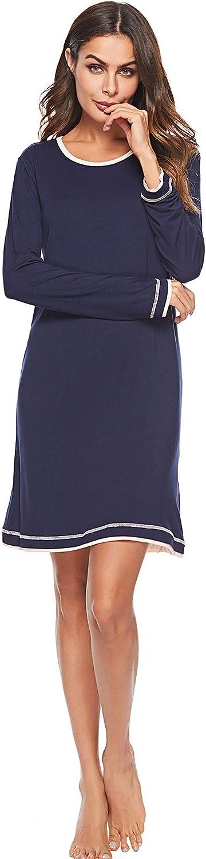 EFINNY Sleepwear for Women Soft Sleep Tee Nightshirt Loose Long Sleeve Nightgowns