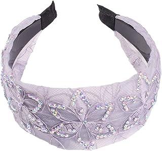 Lurrose Wide Hard Headband Rhinestone Hairband Embroidery Flower Headdress for Adults Womens Lady Makeup Headwear Hair Hoop 1pc Grey