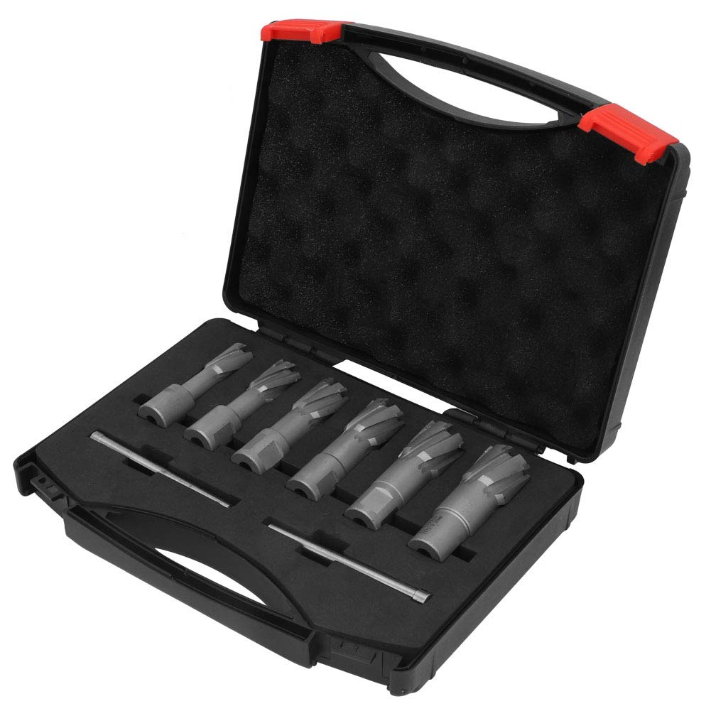 Weldon - Juego de fresas anulares para taladro magnético con caja (35 mm de profundidad, 16/18/20/22/24/26 mm): Amazon.es: Bricolaje y herramientas