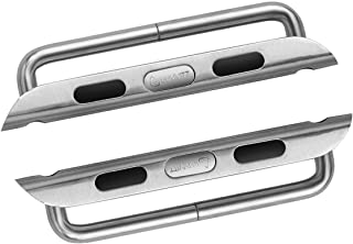 LUVVITT Stainless Steel Adapter for Apple Watch 38mm Band Connector, Buckle, Apple Watch Clasp - 38mm Brushed Matte Silver for Sports Watch Only