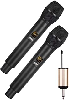 E-Lektron U-2 Universal UHF Digital Dynamic Tuneable Double Wireless Microphone System Set with Mini Plug-on Receiver