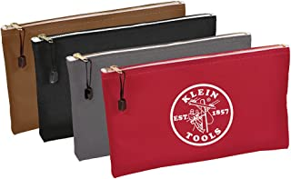 Utility Bag, Zipper Tool Bags in Brown, Black, Gray, Red, 12.5-Inch Canvas, 4 Piece Klein Tools 5141