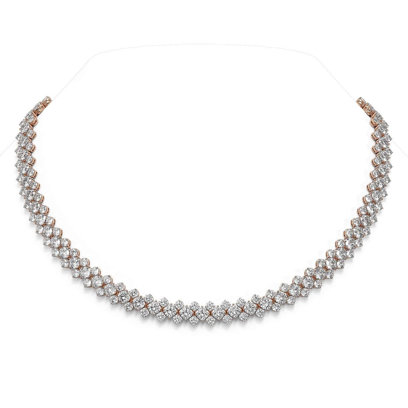 60.5 ctw Cushion Cut Max 44% OFF Cheap mail order sales Diamond Designer Necklace 18K