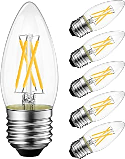 LVWIT Dimmable LED Candelabra Bulbs B11 Filament Bulb E26 Base 5.3W(60W Equivalent) 3000K Soft White Chandelier Decorative Candle Light Bulb 6 Pack