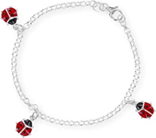 FIVE-D Bracelet pour Enfant en Argent Sterling 925 avec Coccinelle 13 cm /à 15 cm