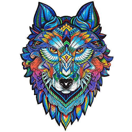 Unidragon Wooden Puzzle Jigsaw, Best Gift for Adults and Kids, Unique Shape Jigsaw Pieces Majestic Wolf, 11.8 x 16.1 in (30 х 41 cm) 310 pcs, King Size