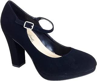 City Classified Comfort Nola Women's Closed Toe Ankle Strap Block Heel