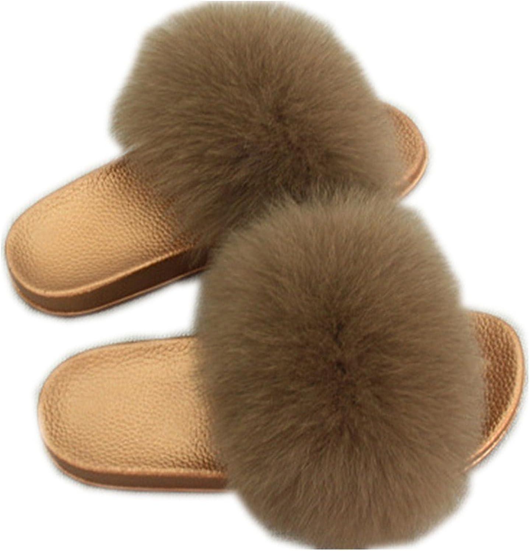 QMFUR Women Real Fox Fur Slippers Fashion Slides Flat Glod Soft Summer shoes for Girls (12, Brown)