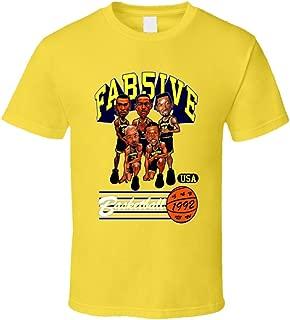 Fab Five Michigan Basketball Caricature Yellow T Shirt