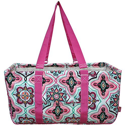 N. Gil All Purpose Open Top 23' Classic Extra Large Utility Tote Bag 2017 Spring Collection (Floral Garden Hot Pink)