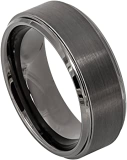 8mm Tungsten Carbide Gun Metal IP Plated Brushed Center High Polish Beveled Edge Wedding Band Ring