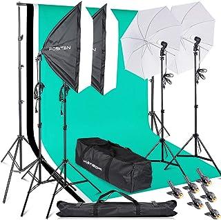 FOSITAN プロな写真撮影ソフトボックス照明キット 2M x3M背景布支援システム  豪華33件セット 800W 5500K 2*50*70㎝ソフトボックス 2*白いソフト傘 6*2M三脚 3*背景布(白、黒、緑) スタジオ撮影、ポートレート撮影、インタビュー、映画の背景用