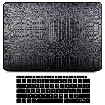 G JGOO Compatible with MacBook Air 13 Inch Case 2021 2020 2019 2018 Release M1 A2337 A2179 A1932 Touch ID MacBook Air 2020 Case Retina PU Leather Protective Hard Shell Case + Keyboard Cover Black
