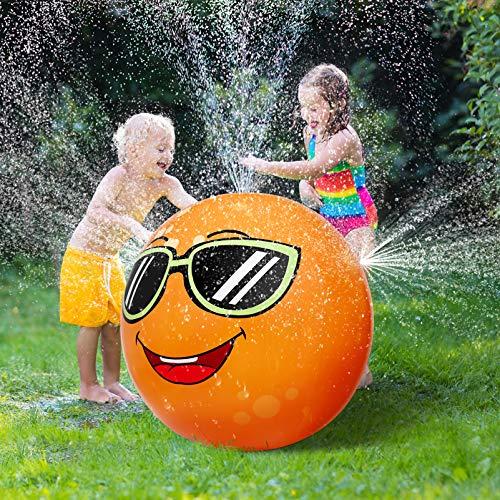 STOBOK Aufblasbares Sprinkler-Spielzeug, 80 cm, orangefarbener Wasserball für Kinder, Kleinkinder, Erwachsene, Sommer-Spaß im Freien, im Garten, Hinterhof, Strand