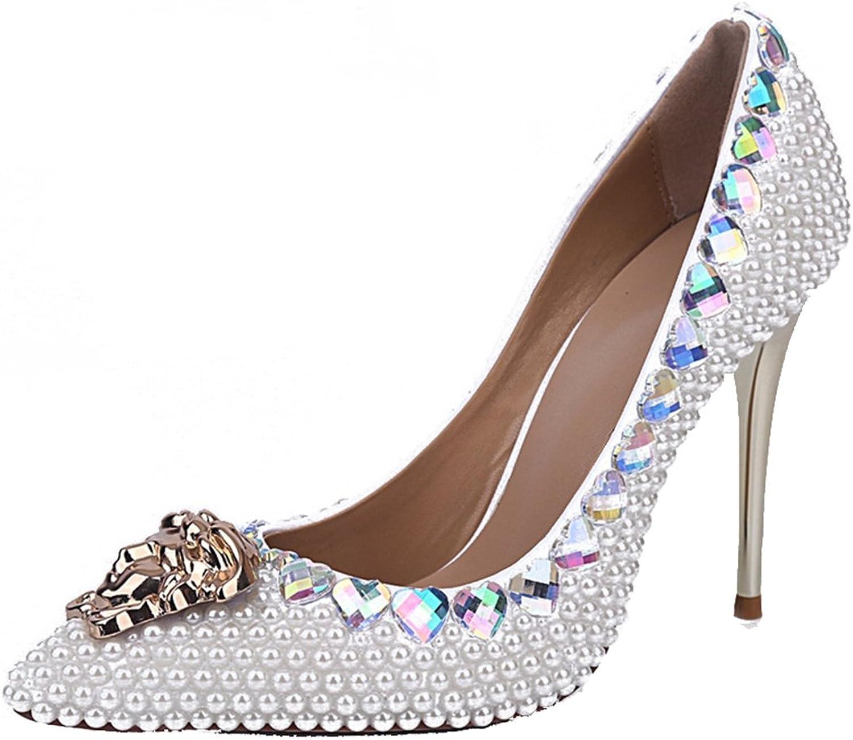 TDA Woherrar Pointed Toe Toe Toe Pearl Metal Heel Patent läder bröllop Party Dress Stiletto Pumpar  spara 50% -75% rabatt