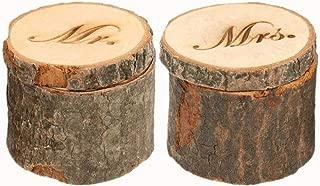 Giga Gud Wooden Rustic Wedding Ring Bearer Box,Wedding Ring Box, Wedding Ring Bearer, Shabby Rustic Ring Box,Wooden Mr&Mrs Jewelry Boxes (2 PCS)