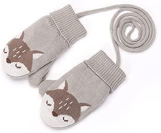 Baby Girls Boys Cute Fox Gloves with String Unisex Toddler Winter Warm Knit Mittens